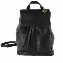 Saco mochila, Betty, en faux de coiro de cor negra