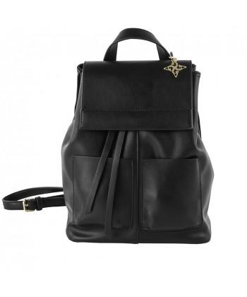 Bolsa mochila, Betty, en imitación de cuero color negro