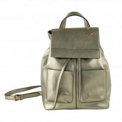 Saco mochila, Betty, en coiro falso cor platino