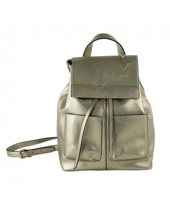 Sac de sac à dos, Betty, en faux cuir de couleur platine
