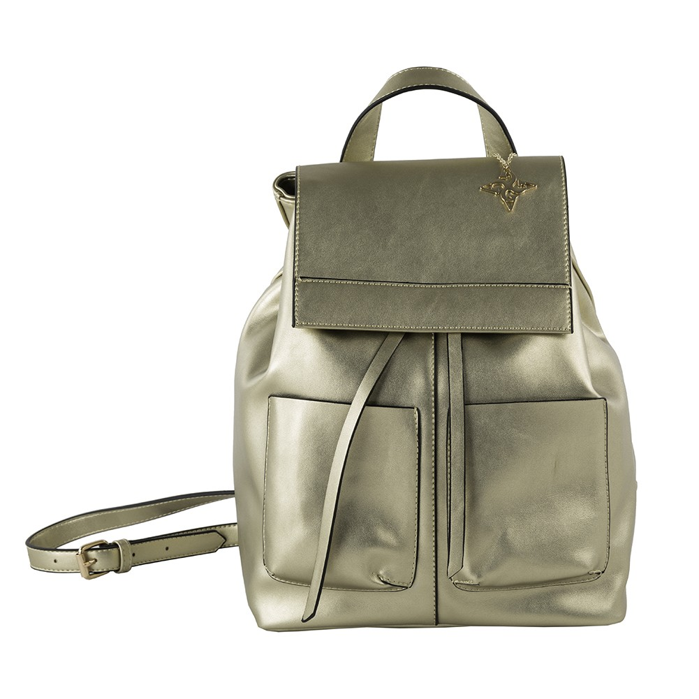 157a581010 bag backpack faux leather gold color