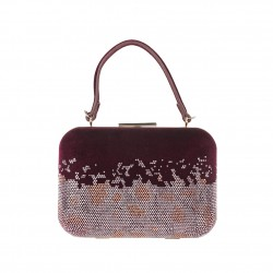 Hand bag, Venus red, velvet and studs