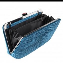 Borsa clutch Wendi azzurro, in velluto