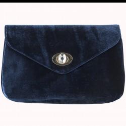 Borsa clutch Alma in velluto blu