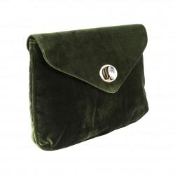 Borsa clutch verde in velluto