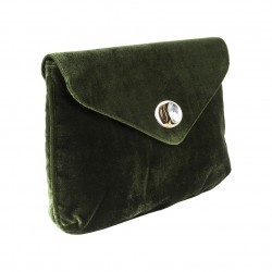Borsa clutch verde in velluto