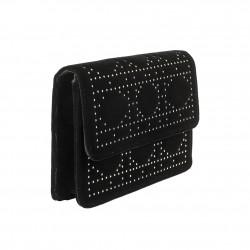 Borsa clutch Lulu nera in velluto e borchiette