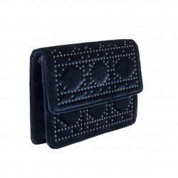 Borsa clutch Lulu blu in velluto e borchiette