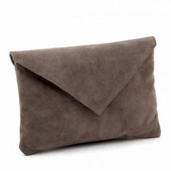 Bolsa de embrague, Margot Grey, en gamuza de cuero, hecho en Italia