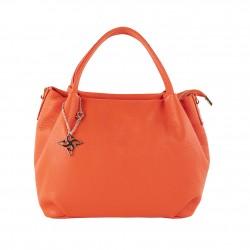 Borsa a mano Ginetta, in pelle, arancione