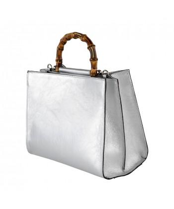 Ginger borsa amano in pelle argento
