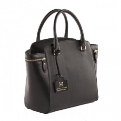 Hand bag, Standard Black, leather, made in Italy