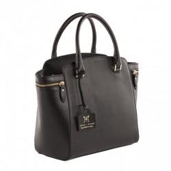 Sac à main Standard, Noir, cuir, fabriqué en Italie
