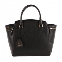 Handtasche, Norma, Schwarz, leder, made in Italy