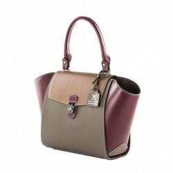 Handtasche, Fabiola, Lila, leder, made in Italy