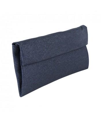 borsa clutch Melodi in tessuto lurex colore blu