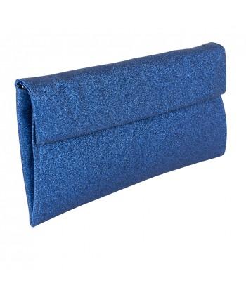 borsa clutch Melodi in tessuto lurex colore bluette