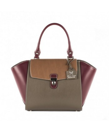 Handbag, Fabiola Violet, leather, made in Italy
