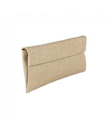 borsa clutch Melodi in tessuto lurex colore oro