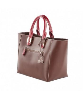 Handtasche, Serena, Braun, leder, made in Italy