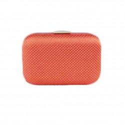 Borsa clutch Mina in tessuto e pietre colore arancio