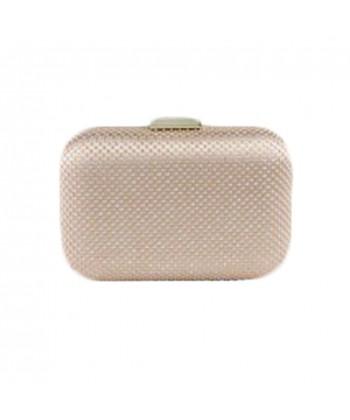 Borsa clutch Mina in tessuto e pietre colore oro