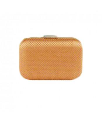 Borsa clutch Mina in tessuto e pietre colore marrone