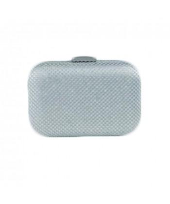 Borsa clutch Mina in tessuto e pietre colore argento