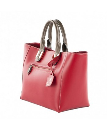 Handtasche, Serena, Rotes leder, made in Italy