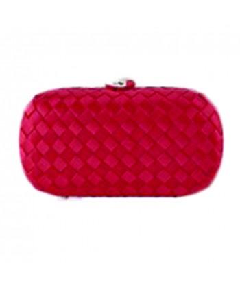 Borsa clutch Eli in tessuto intrecciato rosso