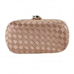 Borsa clutch Eli in tessuto intrecciato rosa