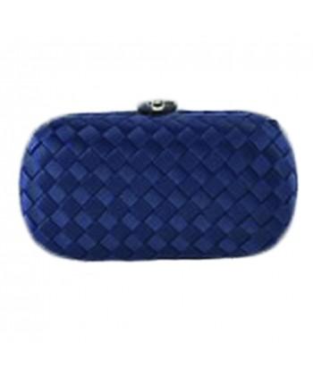 Borsa clutch Eli in tessuto intrecciato blu