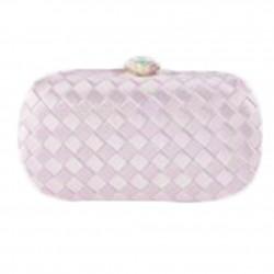 Borsa clutch Eli in tessuto intrecciato rosa chiaro