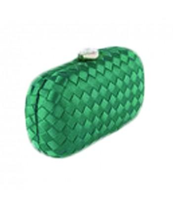 Borsa clutch Eli in tessuto intrecciato verde