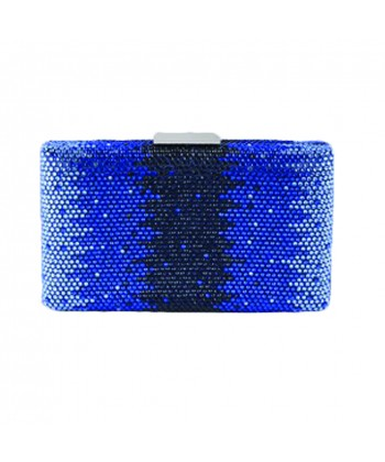 Borsa clutch Milu in tessuto e strass colore blu