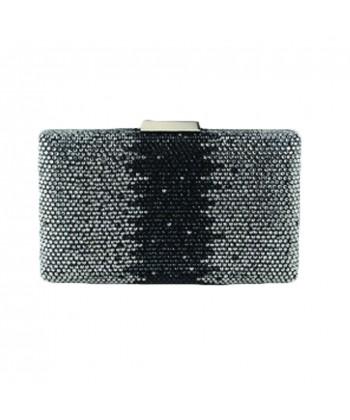 Borsa clutch Milu in tessuto e strass colore nero