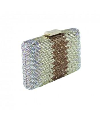 Borsa clutch Milu in tessuto e strass colore oro