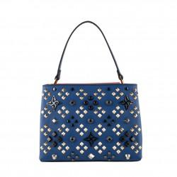 Bolsa mochila, Bendito Flores, en cuero y tela, hecho en Italia