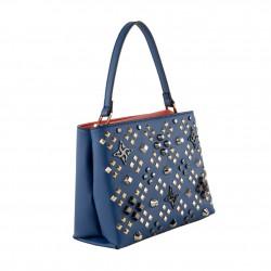 Saco mochila, Bendicido Flores, en coiro e tecido, feita en Italia