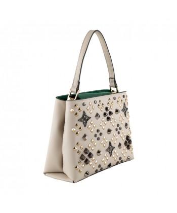 Bolsa mochila, Bendito Diamantes, de cuero y tela, hecho en Italia