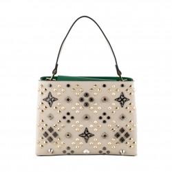 Saco mochila, Bendicido Diamantes, coiro e tecido, feita en Italia
