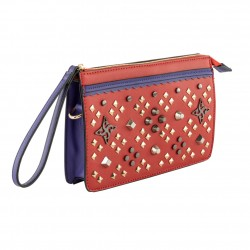 Borsa clutch, Bedi rossa, in ecopelle
