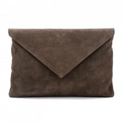 Bolsa de embreagem, Margot Verde camurça, coiro, feitos en Italia