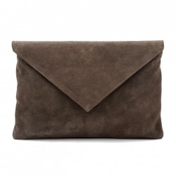 Borsa clutch, Margot Verde, in pelle scamosciata, made in Italy