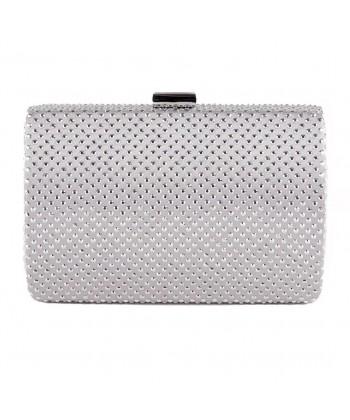 Bag clutch, Gisella Silver, satin fabric