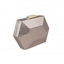 Borsa Clutch, Mia argento, in ecopelle