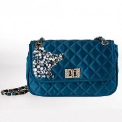 Bolsa de ombreiro, Mirta Azul, tecido e pedras