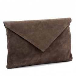 Sac d'embrayage, Margot Green suede en cuir, fabriqué en Italie