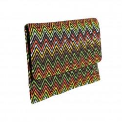 Borsa clutch, Cry multicolore in raffia,