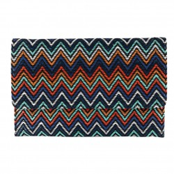 Borsa clutch, Cry multicolore in raffia,